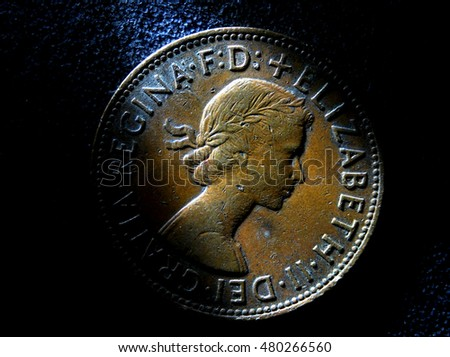 Close up Old Coin