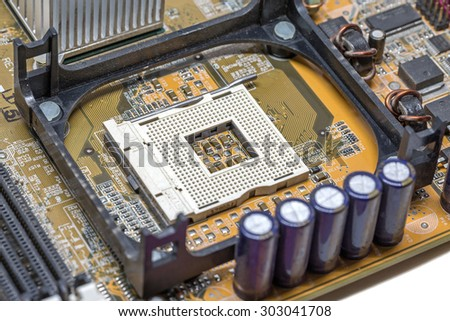 Close up old CPU Processor socket with mainboard background