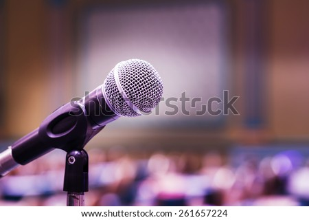 Close up old microphone in conference room - stock photo
