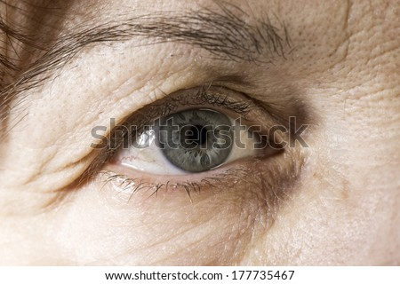 Close up old women blue eye