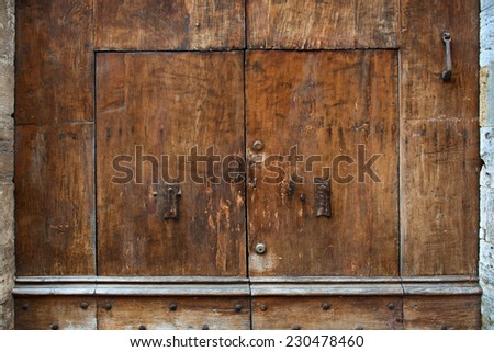 close up old wooden door