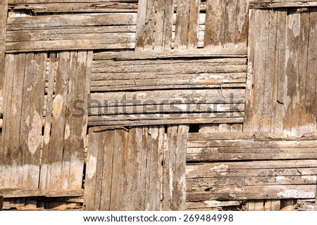 Close up old Woven flat mat made from bamboo grass background - stock photo