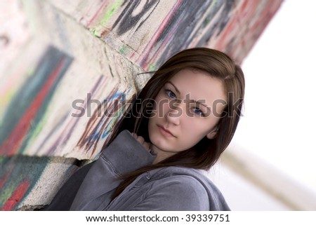 Close up on a Beautiful Teenager by the wall