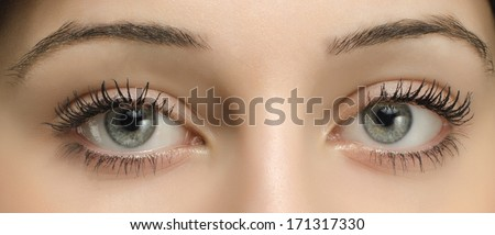 Close up on a beautiful woman eyes - stock photo