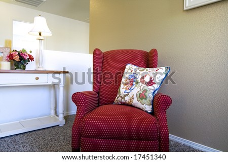 Close up on a Chair in a Trendy Modern Living Room - stock photo
