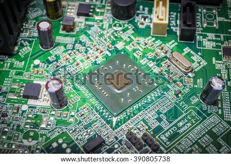 Close-up on a CPU microchip on a scheme in mainboard is heart important computer or electronic circuits - stock photo