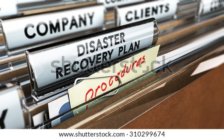 Close up on a file tab with the text Distaster Recovery Plan, focus on the main text and blur effect. Concept image for illustration of DRP ans crisis communication. - stock photo