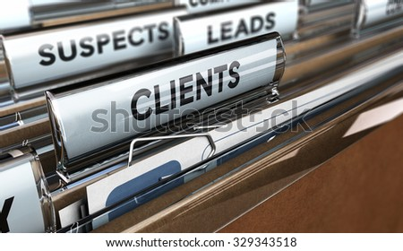 Close up on a file tab with the word client, focus on the main text and blur effect. 3D concept illustration of leads to customer conversion. - stock photo