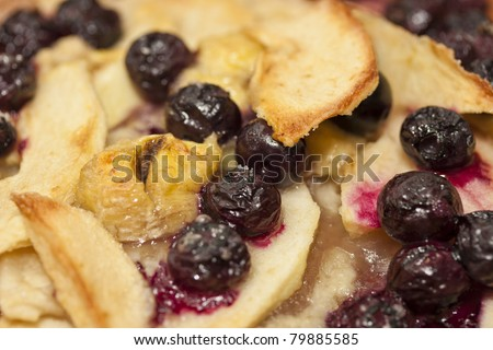 Close-up on a fruit crumble - stock photo