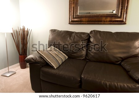Close up on a Living Room with a pillow on the Couch - stock photo