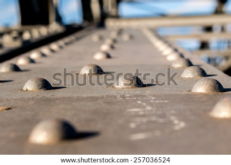 Close up on a metal bridge