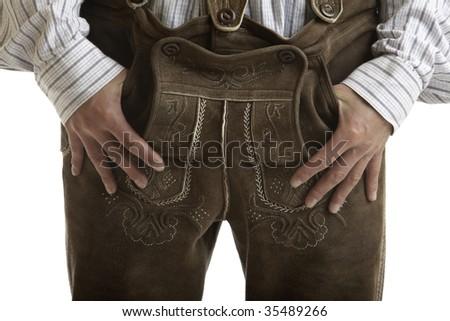 Close-up on a Original Oktoberfest Leather trousers (Lederhose) - stock photo