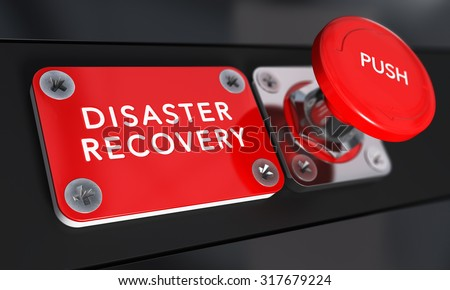 Close up on a red panic button with the text Disaster Recovery with blur effect. Concept image for illustration of DRP, business continuity and crisis communication. - stock photo