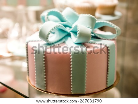 close up on adorable birthday cake - stock photo