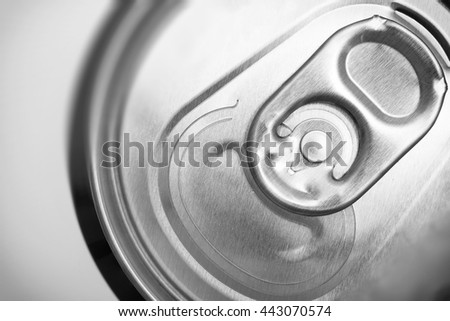 Close up on aluminum ring on soda can used for open can or pop can. - stock photo
