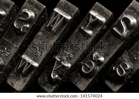 Close-up on an antique typewriter - stock photo
