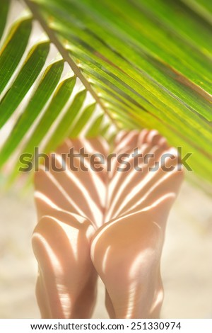 Close Up On Beautiful Woman Legs In Spa - stock photo