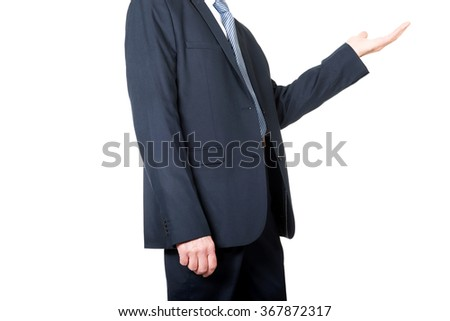 Close up on businessman holding copyspace