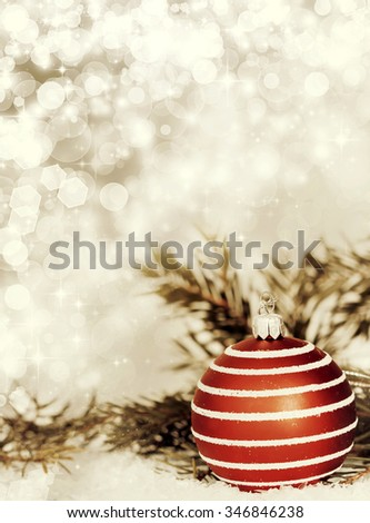 Close up on Christmas tree decoration and holiday lights - stock photo
