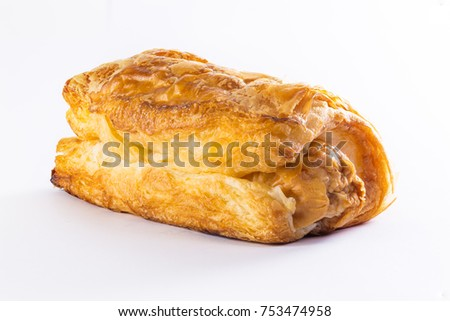 Close up on Croissant, sausage in croissant with white background.