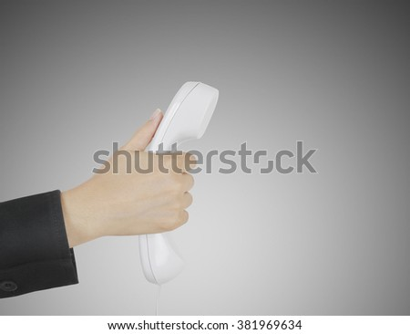 Close up on female hand holding phone  - stock photo