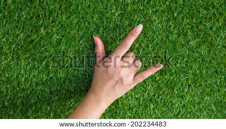 Close up on hand love on green grass