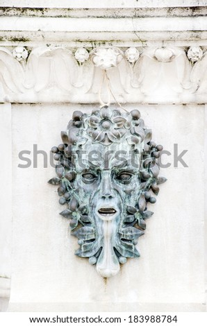 Close up on human head fountain