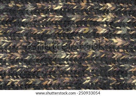 Close up on knit woolen texture. Black and yellow woven thread sweater as a background. - stock photo