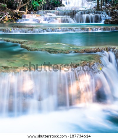 Close up on layer of waterfall - stock photo