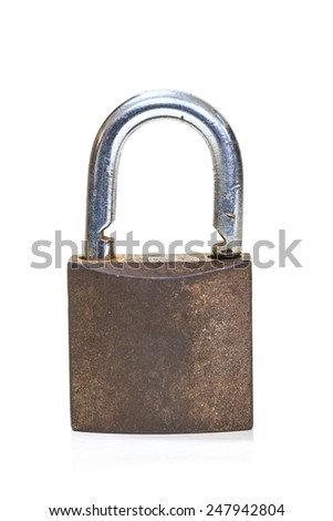 Close up on locked padlock over white background