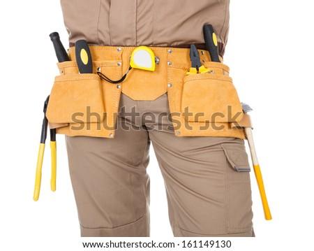 Close-up on Mechanics Hip With Toolbelt On White Background - stock photo
