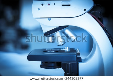 Close up on microscope in laboratory at the university