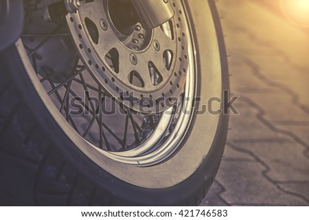 close up on motorcycle wheel