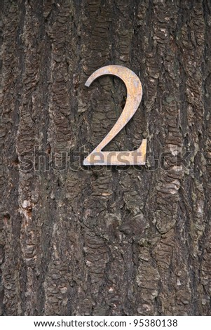 Close up on number 2 on a tree - stock photo