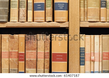close-up on old books in library