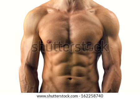 Close up on perfect abs. Strong bodybuilder with six pack - stock photo