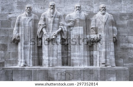 Close up on reformers wall in Geneva, Switzerland, HDR - stock photo
