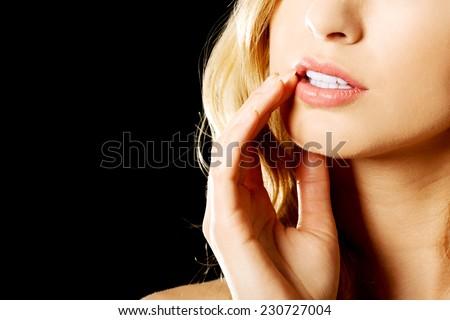 Close up on sensual female face. - stock photo