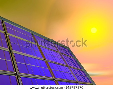 Close up on solar panel by red sunset - stock photo