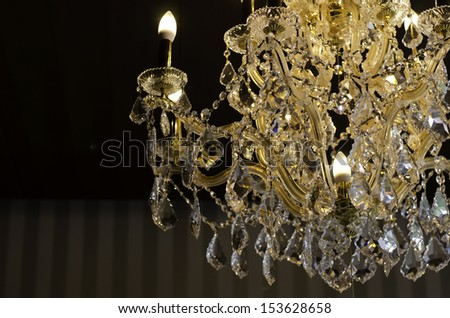 close up on the crystal of beautiful chandelier