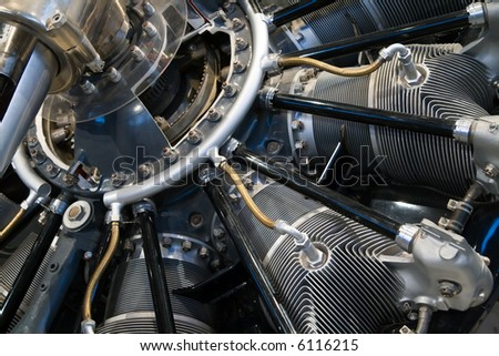 Close-up on the engine of an old Curtiss HS-2L airplane - stock photo