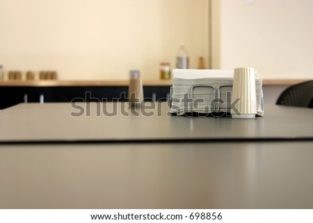 Close up on the Napkin and Salt in a Cafeteria - stock photo