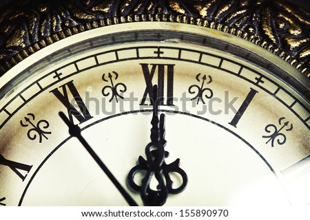 Close up on vintage clock - stock photo