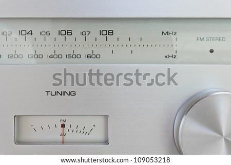 Close-up on Vintage Professional Hi-Fi Radio Tuner - stock photo