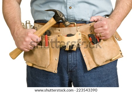 Close Up On Worker's Toolbelt/ On White Background - stock photo