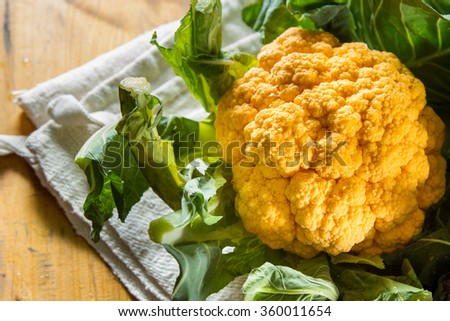 Close up onbeautfiul yellow cauliflower, fresh and dewy from the vegetable garden. - stock photo