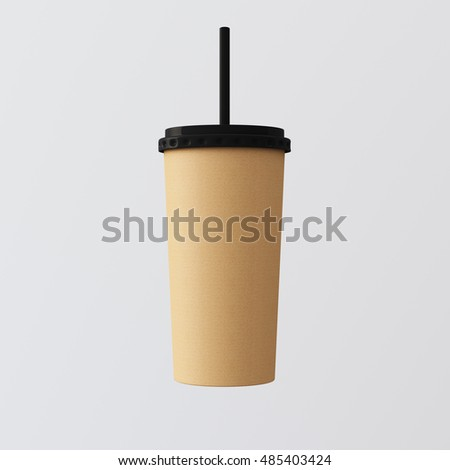 Close-up One Blank Kraft Smoothies Cup Isolated White Background.Take Away Cocktail Mug Closed Black Cap Tube Top.Empty Retail Mockup Presentation Ready Business Message.Square. 3d rendering