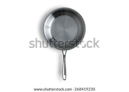 Close up One Clean Steel Kitchen Frying Pan Isolated on a White Background with Copy Space. - stock photo