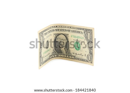 Close up one dollar banknote. Isolated on a white background - stock photo