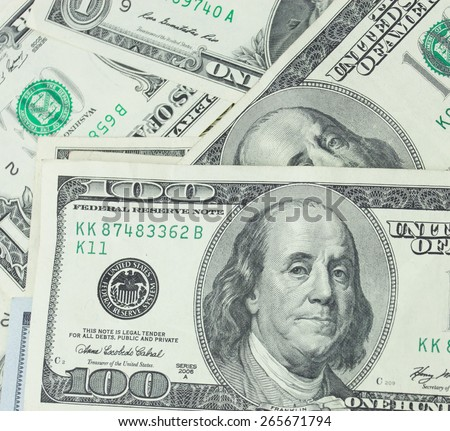 Close-up one hundred US dollars banknotes - stock photo